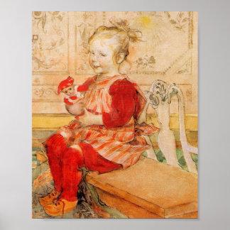 Lisbeth en un puente rojo póster