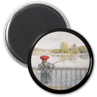 Lisbeth Fishing 1898 2 Inch Round Magnet