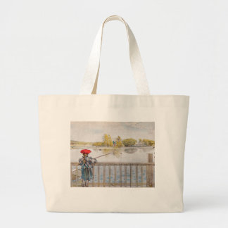 Lisbeth Fishing by Carl Larsson Large Tote Bag