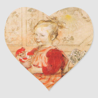 Lisbeth in a Red Jumper Heart Stickers