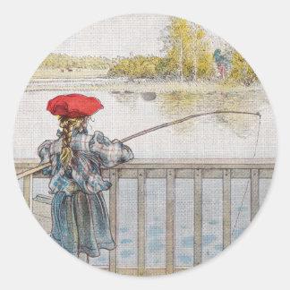 Lisbeth una pesca de la niña de Carl Larsson Pegatina Redonda