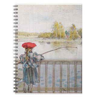 Lisbeth una pesca de la niña de Carl Larsson Spiral Notebook
