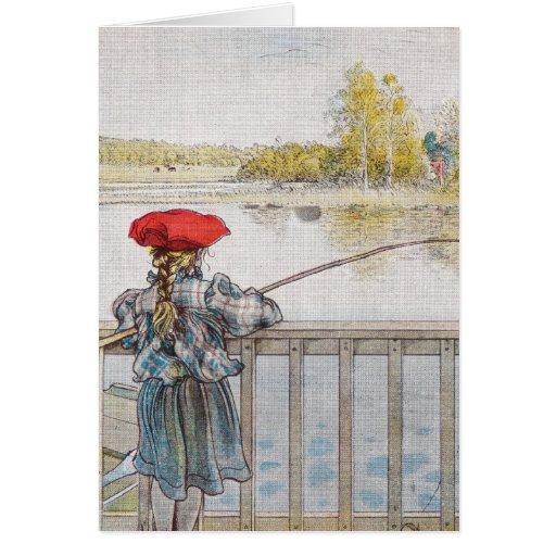 Lisbeth una pesca de la niña de Carl Larsson Tarjeta