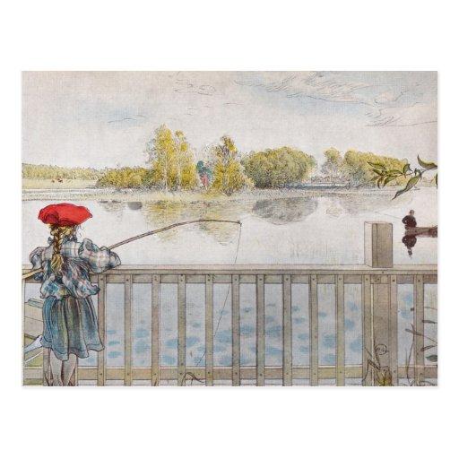 Lisbeth una pesca de la niña de Carl Larsson Tarjeta Postal