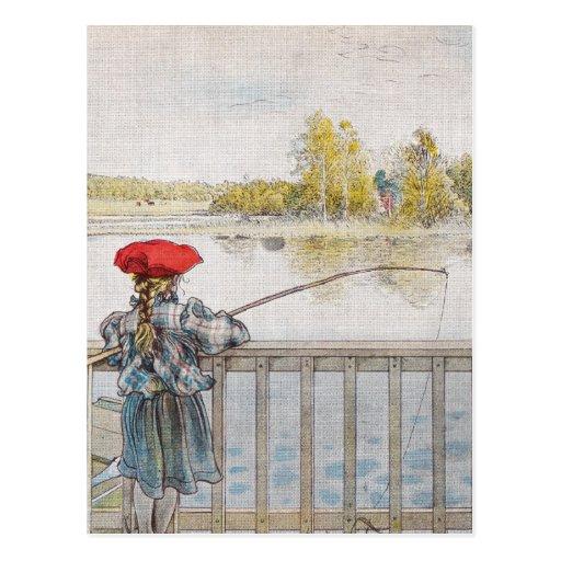 Lisbeth una pesca de la niña de Carl Larsson Tarjetas Postales