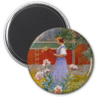 Lisbeth with Peonies Magnet