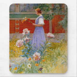 Lisbeth with Peonies Mouse Pad