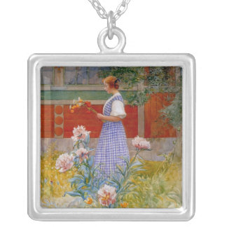 Lisbeth with Peonies Silver Plated Necklace