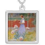 Lisbeth with Peonies Square Pendant Necklace