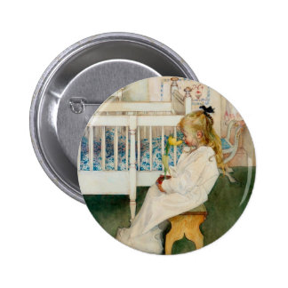 Lisbeth with Yellow Tulip Pinback Button