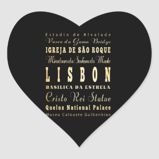 Lisbon City of Portugal Typography Art Heart Sticker