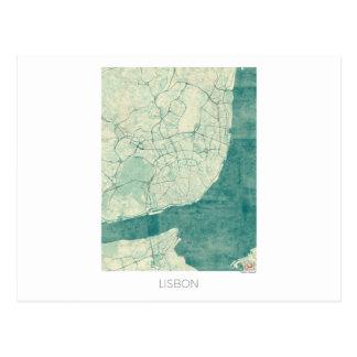 Lisbon Map Blue Vintage Watercolor Postcard