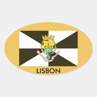 Lisbon Portugal Flag Oval Sticker