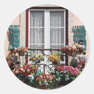 Lisbon´s window balcony classic round sticker