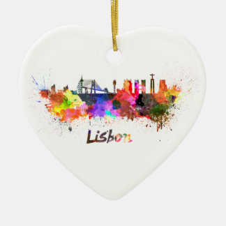 Lisbon skyline in watercolor ceramic ornament