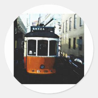 Lisbon tram classic round sticker