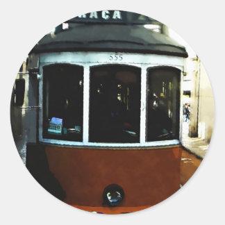 Lisbon tram closeup classic round sticker
