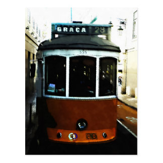 Lisbon tram closeup postcard