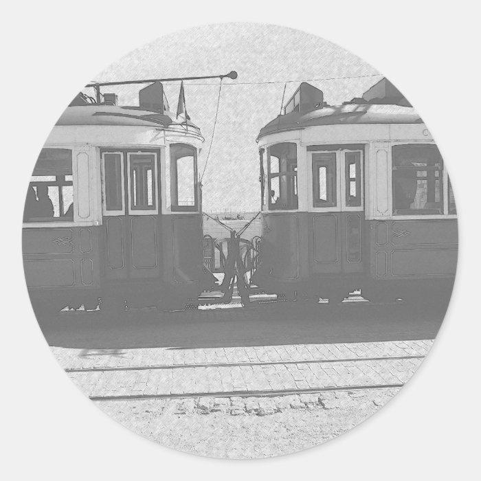 Lisbon trams classic round sticker
