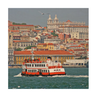 Lisbon view from Tagus river Wood Wall Art