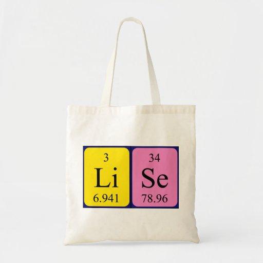 Lise periodic table name tote bag