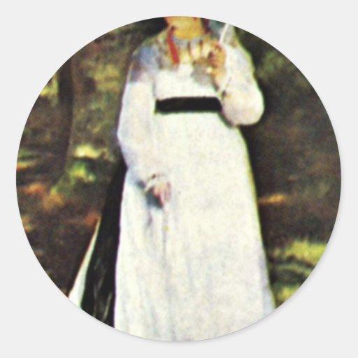Lise With Umbrella By Pierre-Auguste Renoir Round Sticker