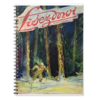 Lisez-moi, esquiando a través del bosque libro de apuntes