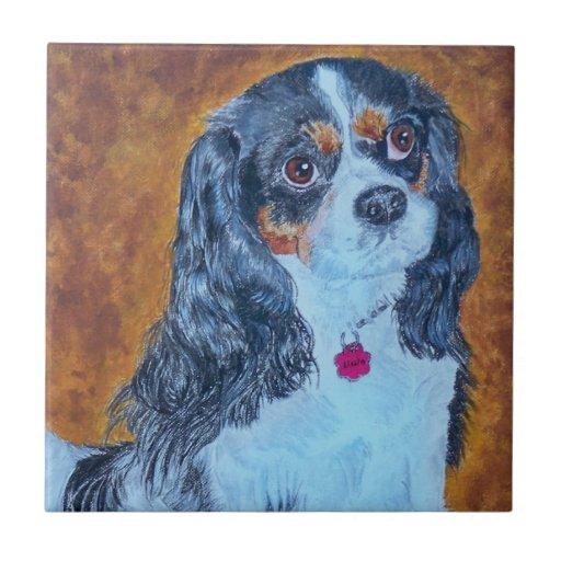 Lissie el rey Charles Cavalier Spaniel Azulejo Cuadrado Pequeño