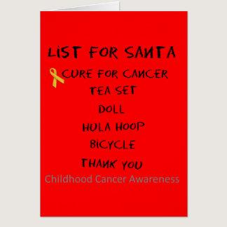 List For Santa Childhodod Cancer Awareness Card