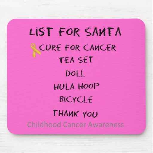 List For Santa Childhodod Cancer Awareness Mouse Pad
