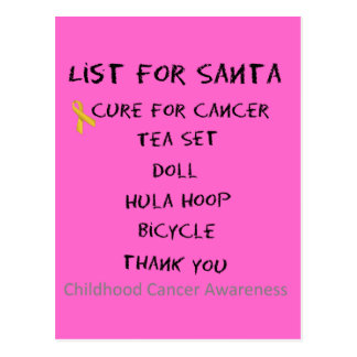 List For Santa Childhodod Cancer Awareness Postcard