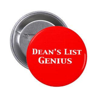 List Genius Gifts de decano Pin Redondo De 2 Pulgadas