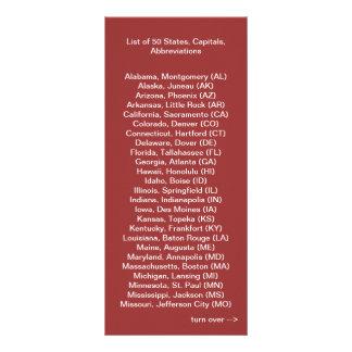 List of 50 States Rack Card