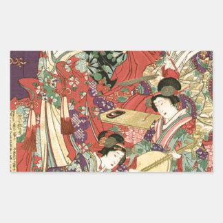 List of Noble Ladies by Toyohara Chikanobu Rectangular Sticker