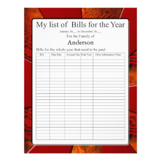 List of Yearly Bills form Letterhead