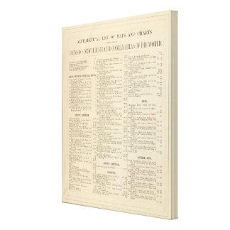 Lista alfabética de mapas y de cartas lienzo envuelto para galerias