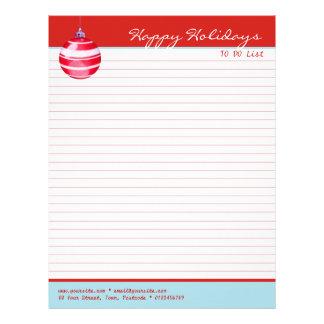 Lista alineada rojo rojo del ornamento del navidad membrete a diseño