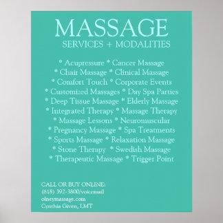 Lista AZUL de las modalidades del masaje Póster