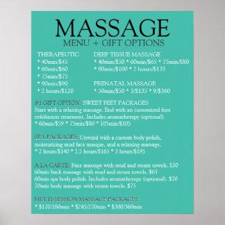 Lista AZUL del menú del servicio del masaje Posters
