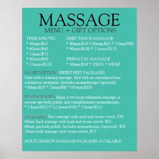 Lista AZUL del menú del servicio del masaje Póster