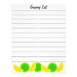 "Lista de compras de la cal del limón folleto 8.5"" x 11"""