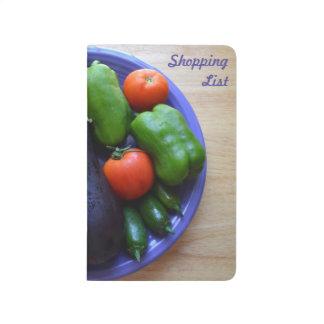 Lista de compras de la placa de la cosecha cuaderno grapado