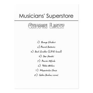 Lista de compras del Superstore de los músicos Postal