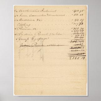 Lista de compras hechas por Meriwether Lewis Póster