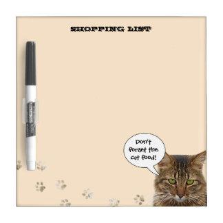 Lista de compras (no olvide la comida para gatos) tableros blancos