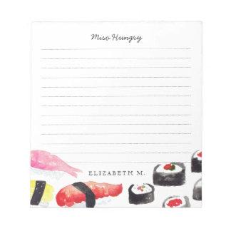 Lista de compras personalizada del sushi del   bloc de notas