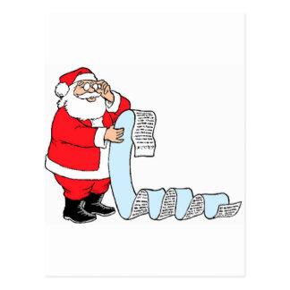 Lista de comprobación de Santa Tarjetas Postales