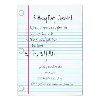 """Lista de control de la fiesta de cumpleaños invitación 4.5"""" x 6.25"""""""