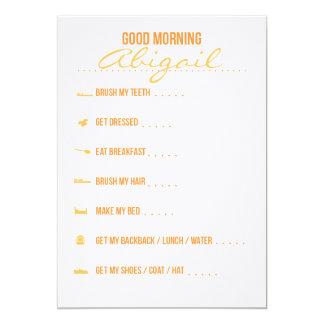 Lista de control de la rutina de la buena mañana invitación 12,7 x 17,8 cm