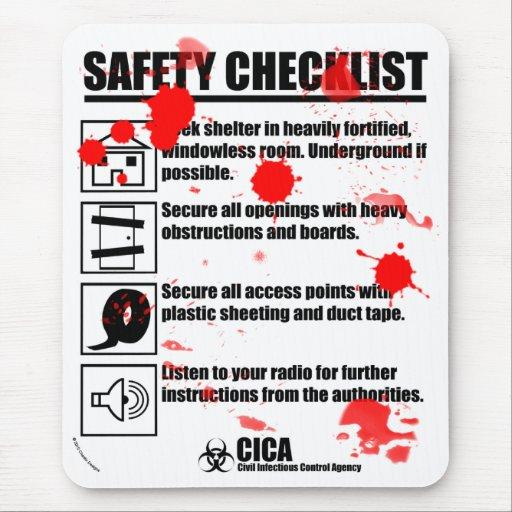 Lista de control de la seguridad con la alfombrilla de ratón